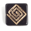 Glass Bead Flat Square 15mm With Centre Drill Black/Gold Strung